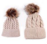 Balakie Parent-Child Cap, 2 pcs Knitting Keep Warm Hat Winter Knit Family Crochet Fur Wool Beanie Ski Cap