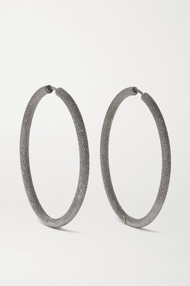 Carolina Bucci Florentine 18-karat Blackened Gold Hoop Earrings - Silver