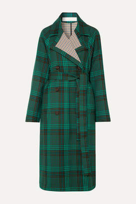 See by Chloe Belted Double-breasted Checked Twill Coat - Green
