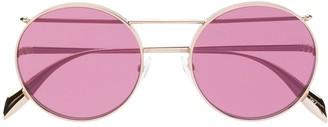 Alexander Mcqueen Eyewear Round Frame Piercing Sunglasses