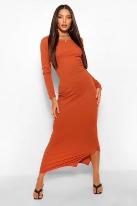 boohoo Tall Rib Long Sleeve Midaxi Dress