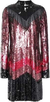 Just Cavalli Fringe-trimmed Embellished Color-block Georgette Mini Dress