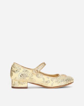 Dolce & Gabbana Lame Brocade Mary Jane Ballet Flats