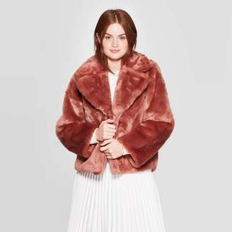 A New Day Women's Long Sleeve Faux Fur Jacket Brown