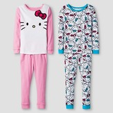 Toddler Girls' Hello Kitty Long Sleeve 4-Piece Cotton Pajama Set Multi-Colored