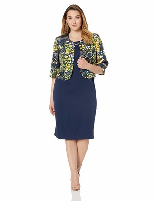 Maya Brooke Women's Plus Size Animal Printed Jacket with Dress