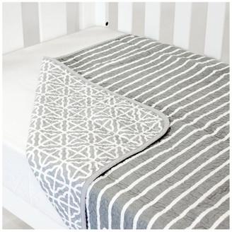 Babyhood Cot Quilt Coverlet Summer Stripe Grey
