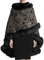 Sofia Cashmere Paisley Cashmere Cape w/ Fur Trim