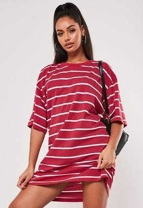Missguided Red Stripe Short Sleeve T Shirt Dress