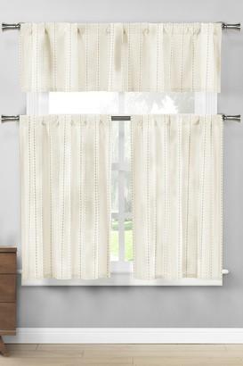 Duck River Textile Kylie Stripes Kitchen Curtain & Tier Set - Linen/White