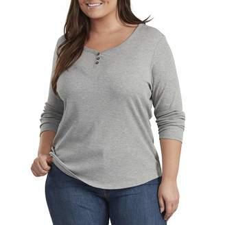 Dickies Women's Size Long Sleeve Henley-Plus
