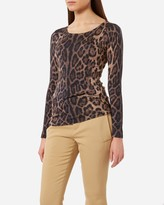 N.Peal Printed Super Fine Long Sleeve Cashmere Top