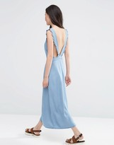 Asos Denim Waisted Midi Dress with Frill Straps in Light Wash Blue