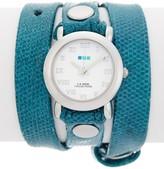 La Mer Women's Teal Snake Triple Wrap Watch