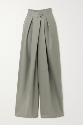 Petar Petrov Hope Pleated Merino Wool Wide-leg Pants - Gray