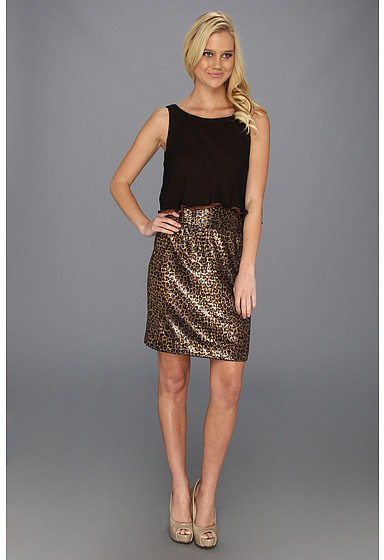 Suzi Chin for Maggy Boutique Sleeveless Pop Top 2fer Dress