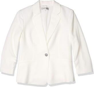Kasper Women's Petite Textured Stretch Notch Collar 1 Button Jacket