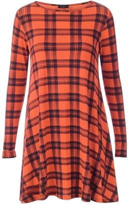 My Fashion Store New Women Long Sleeve Tartan Swing Flared Dress Check Long Sleeve Dress Top Plus Uk Size 8-26 (M/L 12-14