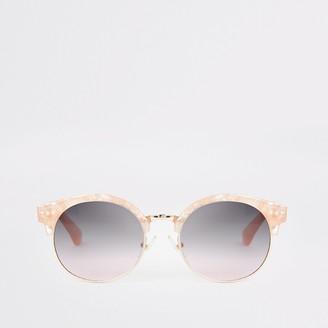 River Island Girls Pink quartz round sunglasses