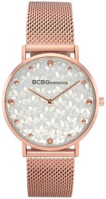 Bcbgeneration BCBGeneration Women's Rosetone Floral Dial MeshWatch
