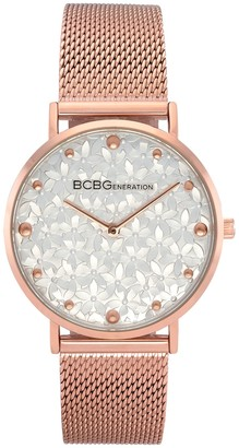 BCBGeneration Women's Rosetone Floral Dial MeshWatch