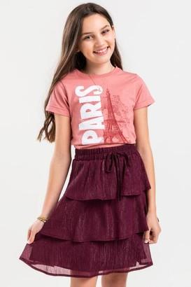 francesca's franki Lurex Tiered Mini Skirt - Burgundy