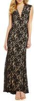 Aidan Mattox 151A98160 Keyhole Cutout Floral Lace Gown