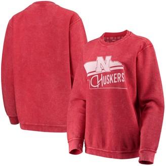 Women's Pressbox Scarlet Nebraska Cornhuskers Comfy Cord Corduroy Crewneck Sweatshirt