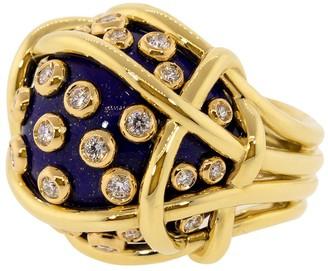 Verdura Lapis and Diamond Polka Dot Ring