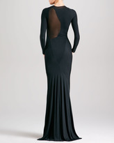 Donna Karan Sheer-Inset Long-Sleeve Evening Gown, Black