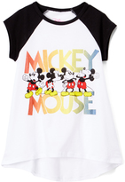 Freeze Mickey Mouse White Heather Hi-Low Raglan Tee - Girls