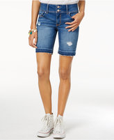 Tinseltown Juniors' Ripped Denim Bermuda Shorts