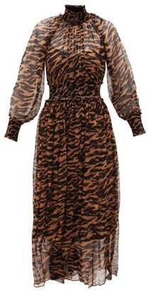 Zimmermann Wavelength Shirred Tiger-print Silk-chiffon Dress - Brown Print