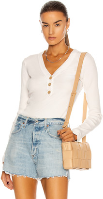 Citizens of Humanity Scarlett Rib Henley Top in Cream Pink | FWRD