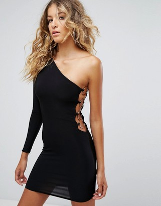 Club L One Shoulder 80's Mini Bodycon Dress