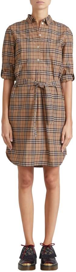 Burberry Kelsy Cotton Check Shirtdress
