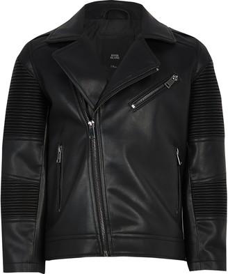 River Island Boys Black faux leather ridged biker jacket