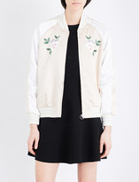 Mo&Co. Embroidered satin bomber jacket