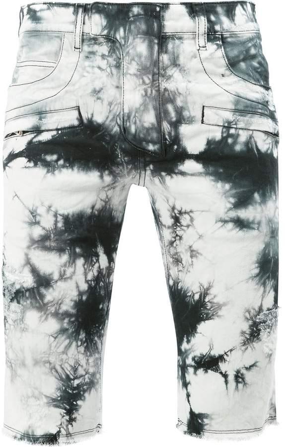 Balmain tie dye denim shorts