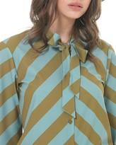 Silvian Heach Tie Neck Stripe Shirt - S