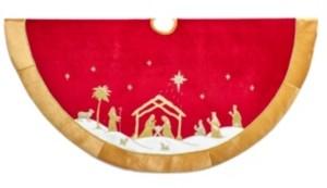 Kurt Adler 48-Inch Red and Gold Religious Tree Skirt