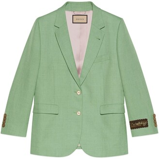 Gucci Viscose linen single-breasted jacket