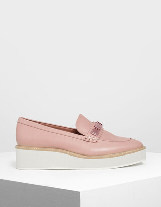 Charles & Keith Embellished Flatform Loafers