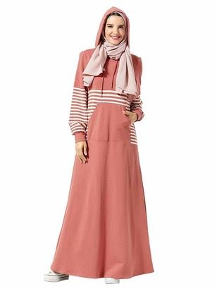 MEYINI Women Abaya Maxi Dresses - Muslim Sporty Hooded Long Sleeve Clothing Casual Robe Plus Size (No Hijab)
