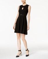 Calvin Klein Petite Belted Keyhole A-line Dress
