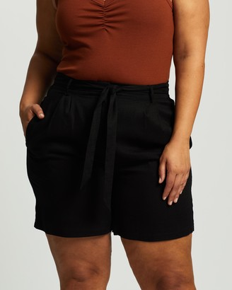 Atmos & Here Atmos&Here Curvy - Women's Black High-Waisted - Kym Linen Blend Tie Waist Shorts - Size 18 at The Iconic