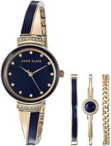 Anne Klein Women's AK/2216NVST Swarovski Crystal Accented Gold-Tone and Navy Blue Bangle Watch and Bracelet Set