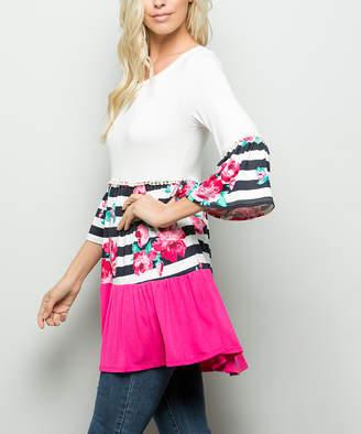 Celeste Women's Tunics FUCHIA/FLOW - Fuchsia & Navy Stripe Floral Color Block Tiered Scoop Neck Tunic - Women