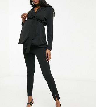 ASOS DESIGN Maternity jersey over bump slim split front suit pants in black