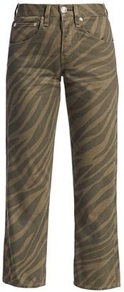 Rag & Bone Maya High-Rise Zebra-Stripe Ankle Straight Jeans